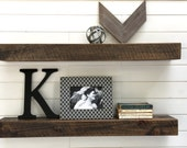 Custom Set of Two 38 inch rustic floating shelves for SVeentra