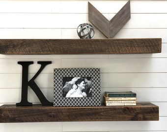 Floating Shelves, Set of Two Rustic Floating Shelves, Rustic Floating Shelf, Floating shelves, 36 inch Wood Shelves