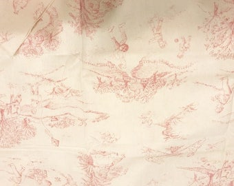 Pink Toile White fabric | Cotton Twill fabric | Children at play | Last piece