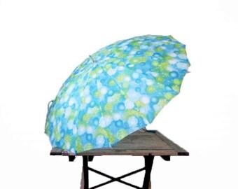 Vintage Blue Umbrella - 1960s Abstract Parasol - Colorful Umbrella with Curved Hook Handle - Kids Umbrella Aqua Impressionist Rain Accessory