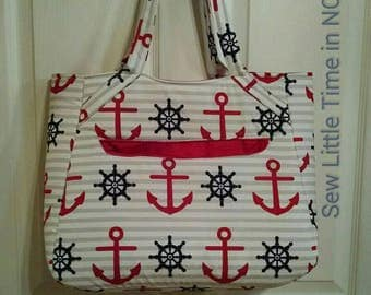 Sale: Use Coupon Code 15Off to get 15% off.  Large Nautical Anchor Print and Ship Wheel Totebag