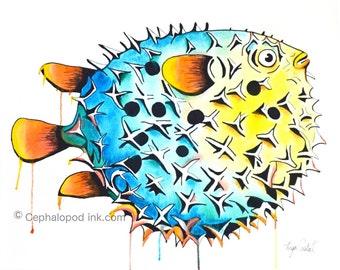 Pufferfish Art Print 8x10 Watercolor