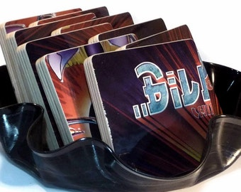 Billy Thorpe recycled Children of the Sun handcrafted music sleeve coasters and vinyl record basket