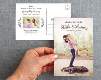 """Digital File, Save the date card, postcard, hand drawn detail, leaves and branches, 4x6 inch """"Shiela Style"""""""