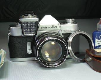 Vintage Minolta SR-3 with Sekonic Meter 35mm Film Camera with Minolta Prime Lens and 200mm Lens