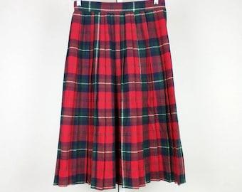 Vintage Red Plaid Pleated Midi Skirt S