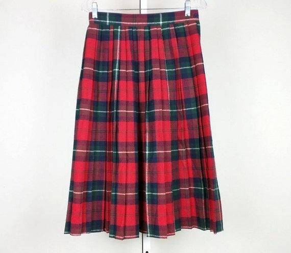 vintage plaid pleated midi skirt s by pardonmypast on etsy
