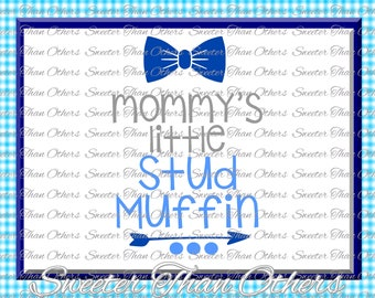 Baby Boy SVG, Mommys Little Stud Muffin, onesie cut file boy svg, baby cutting file Dxf Silhouette Cricut INSTANT DOWNLOAD, Vinyl Design Mtc