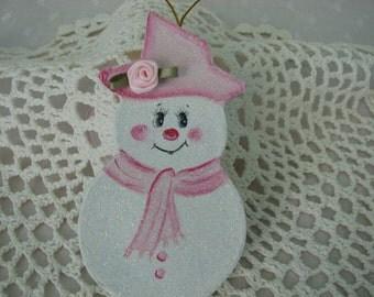 Snowman Ornament Pink Paper Mache Hand Painted Glitter Rose