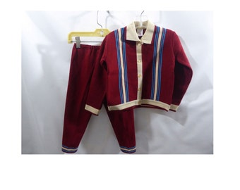 Vintage Sweater Pants Suit Jacket Burgundy Blue Boys Rockabilly Mod 60s 50s