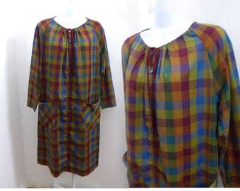 Vintage 60s Dress Size L Plaid Madras cotton Housecoat Mod Shift Olive Brown