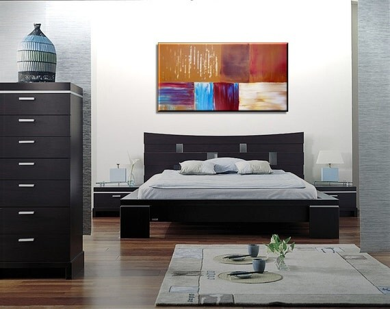 Large Modern Abstract Art Bold Warm Colors Golden Browns, Red, Caramel and Blues 48x24 HUGE on Stretched Canvases Mails Fast