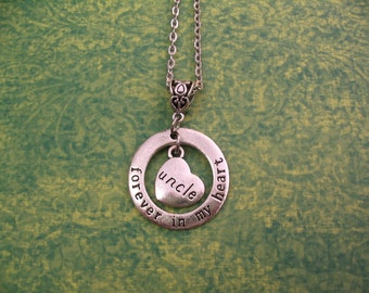 Uncle Forever in My Heart Necklace Remembrance Memorial of Loved One Jewelry Gift