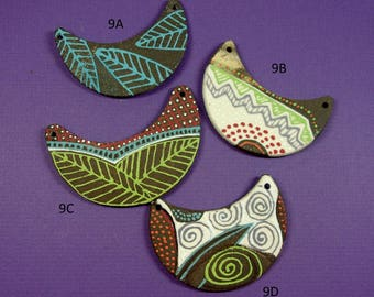 PENDANT Ceramic Clay Jewelry Component, One of a Kind Handmade and Hand Patterned, Unique Reversible Boomerang Shape, Limited Edition