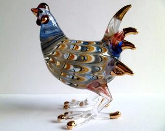 """3"""" H Unique CHICKEN Hen ROOSTER Sprial Gold Trim Hand-Blown ART Glass Farm Animal Figurine,Glass Hen,Home Decor,Collectible,Hen,Chicken"""