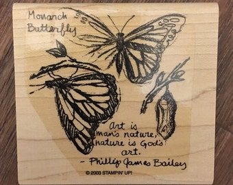 Stampin' Up Wood Mounted Rubber Stamp Monarch Butterfly