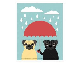 136D Pug Print - Two Pugs with Red Umbrella Wall Art - Black Pug Print - Fawn Pug Art - Funny Dog Art - Umbrella Print - Dog Art Print