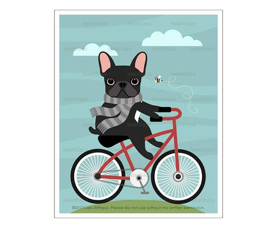279D Dog Art - Black French Bulldog on Bicycle Wall Art - Bicycle Art - Red Bicycle Print - French Bulldog Wall Art - Funny Dog Drawing