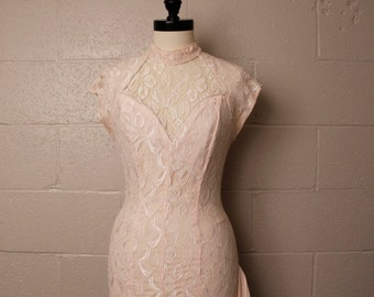 Vintage 1980's A La Carte Pastel Pink Lace Dress XS
