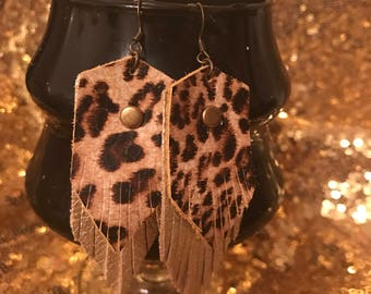 Platinum and leopard leather earrings