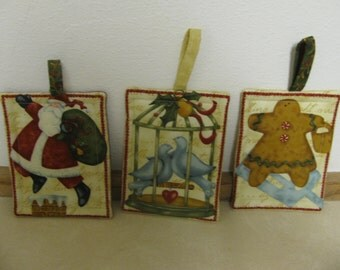 3 Christmas Potholders made with Insulbrite and Batting, Sant, Doves and Gingerbread Man FREE shipping