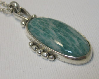 Oval Amazonite Pendant Necklace with sterling silver bezel setting and sterling granule accent, hand forged artisan necklace