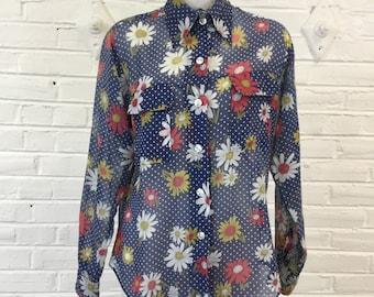 1970s Blue Daisy and Polka Dot Sheer Shirt, size L