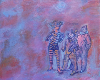 Clowns - original painting, artwork by Irene Stapleford - wantknot shop