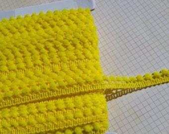 "YELLOW Mini Pom Pom Trim - Sewing Crafting Baby Poms Poms - Mini Fringe - 3/8"" Wide"