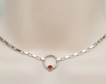 Discreet Slave Collar O Locking necklace Stainless Steel Chain With Blue Crystal Captive Bead Ring Clasp