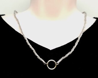 "Discreet Slave Collar O Locking necklace Stainless Steel Twisted Mesh Chain with O segment clasp/focal 24"" Tool Sold Separately"