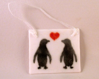 Fused Glass Penguin Love Ornament