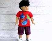 Boy Doll Clothes Shark Shirt and Board Shorts, American Boy Doll Shirt Shorts Outfit