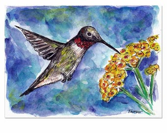 Hummingbird Drinking from a Yellow Flower, Hummingbird Painting, Original Watercolor, Watercolor Bird, Watercolor Flower, Hummingbird Art