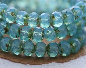 CARIBBEAN .. 10 Premium Czech Picasso Glass Rondelle Beads 7x5mm (B03-10)