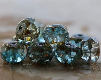 WATER .. 10 Premium Picasso Czech Rondelle Glass Beads 6x8-9mm (5526-10)