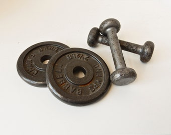 Dumbells, Weightlifting Equipment, Iron Weights, Iron Dumbells, Vintage Weights, Antique Sports Equipment