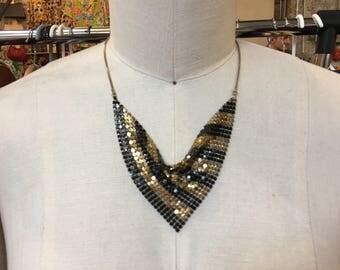 Vintage Black and gold stripe Metal mesh necklace
