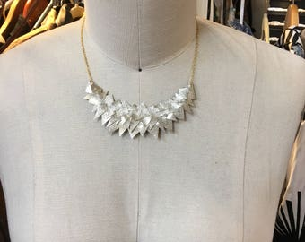 Metallic gold  leather triangles statement necklace