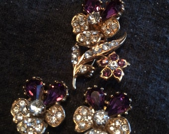 Vintage amethyst and rhinestone brooch and earrings
