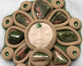 Kabbalations Earthtones Brown and Forest Green Goddess with Unakite Gemstones