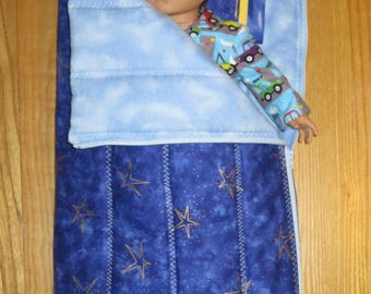 American Girl Boy Doll size Sleeping Bag and Pillow Blue with Gold Stars
