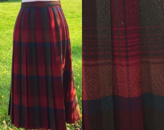 Sabrina 80s Box Pleat Plaid Skirt 26 Waist