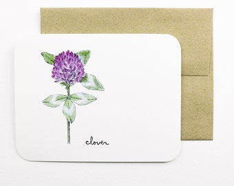 Clover card with envelope | Purple clover | Wild flower | Greeting card | Thank you card | Sympathy card