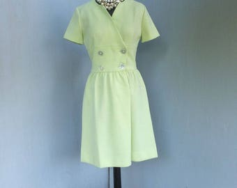 Vintage 1970s Dress, Jonathan Logan, Green Knit Dress, Day Dress, Secretary Dress, Size 9