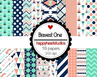 DigitalScrapbooking BravestOne Aztec, Tribal, Turqouise, Peach, Navy -InstantDownload