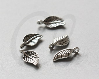 60pcs Oxidized Silver Tone Base Metal Charms-Leaf 15x7mm (16494Y-E-561)