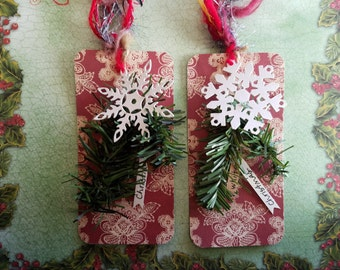Handmade Christmas tags, Set of Two, White Christmas