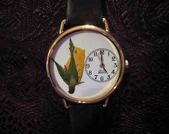 Womens Watch, Leather Wrist Watch with Pressed Yellow Rose and Leather Band Bracelet Woman, Women's Watch with Yellow Rose and Bridal Wreath