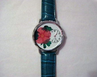 Pressed Flower Watch, Pink Phlox in Watch with Turquoise Verbena, Flower in Watch, Watch For Women, Pressed Flower Watch, Flowers in a Watch